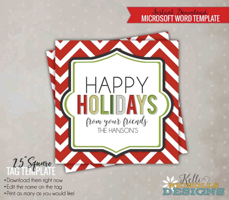 Happy Holidays Tag Template Editable Chevron Christmas Party Etsy