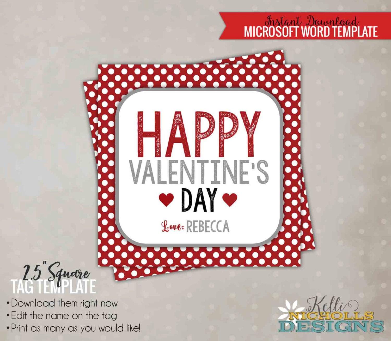 Plantilla de etiqueta de lunares rojo y blanco San Valentín | Etsy