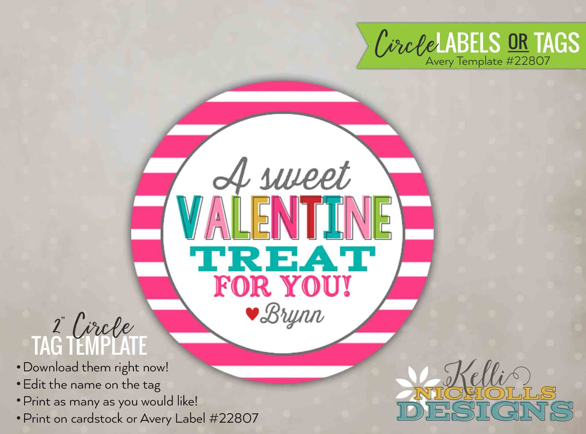 Custom Stripes Valentines Day Stickertag Personalized Etsy