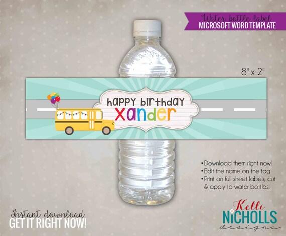 Wheels On The Bus Water Bottle Label Template Custom School Etsy