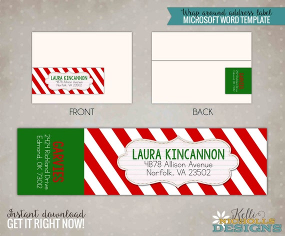 Printable Candy Cane Red Stripes Christmas Wrap Around Address