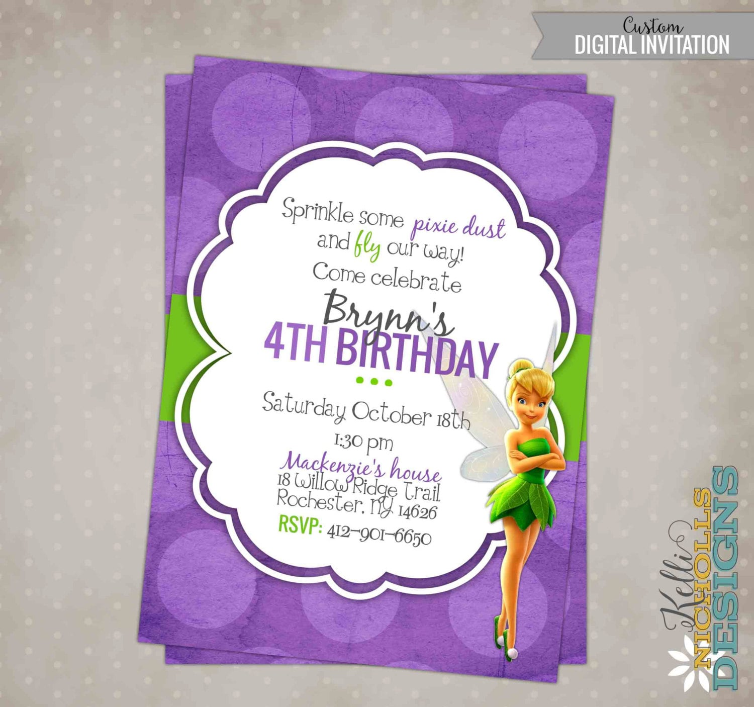 Printable Tinkerbell Girl\'s Birthday Party Invitation | Etsy