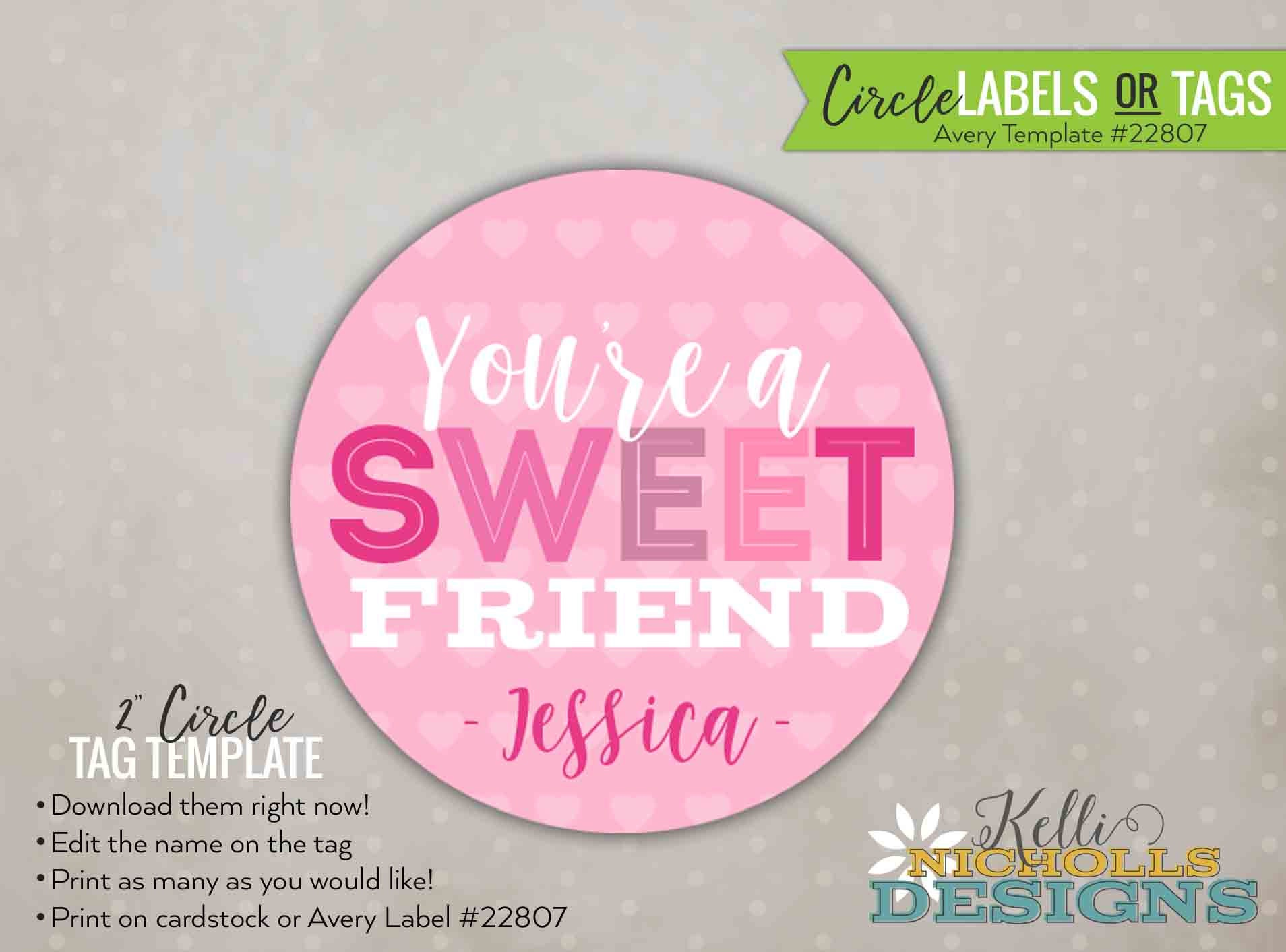Youre A Sweet Friend Valentines Tagsticker Personalized Etsy