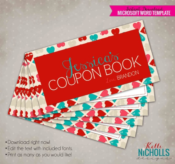 valentine s day printable customized coupon book gift etsy