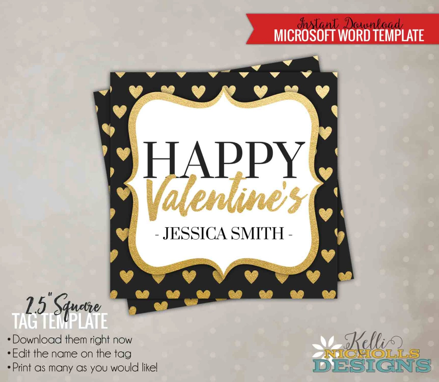 Customized Valentines Day Card Tag Template Blackboard Etsy