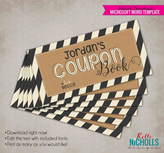 vintage coupon book with kraft charcoal stripes etsy