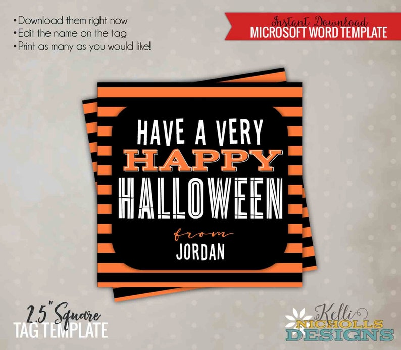 Have a Very Happy Halloween Printable Tag Halloween Candy Bag Tag Template Printable Instant Download