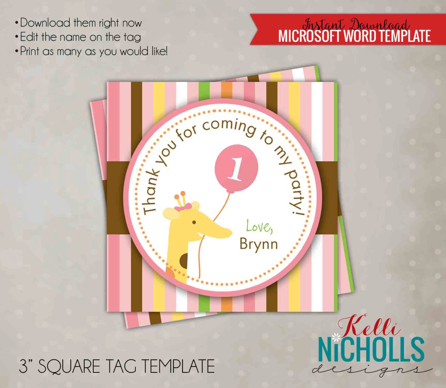 Printable Sweet At One Girls Birthday Party Custom Favor Etsy