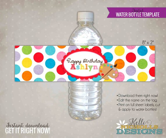 Water Bottle Labels Template | Children S Art Water Bottle Label Template Printable Arts Etsy