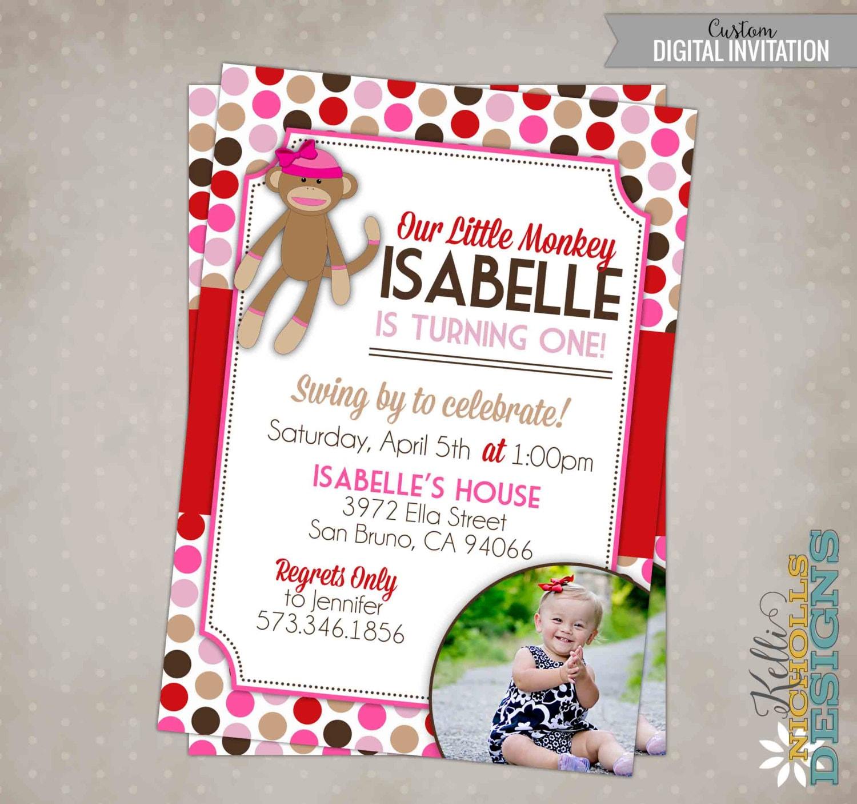Little Girl Sock Monkey Birthday Party Invitation Custom 1st | Etsy