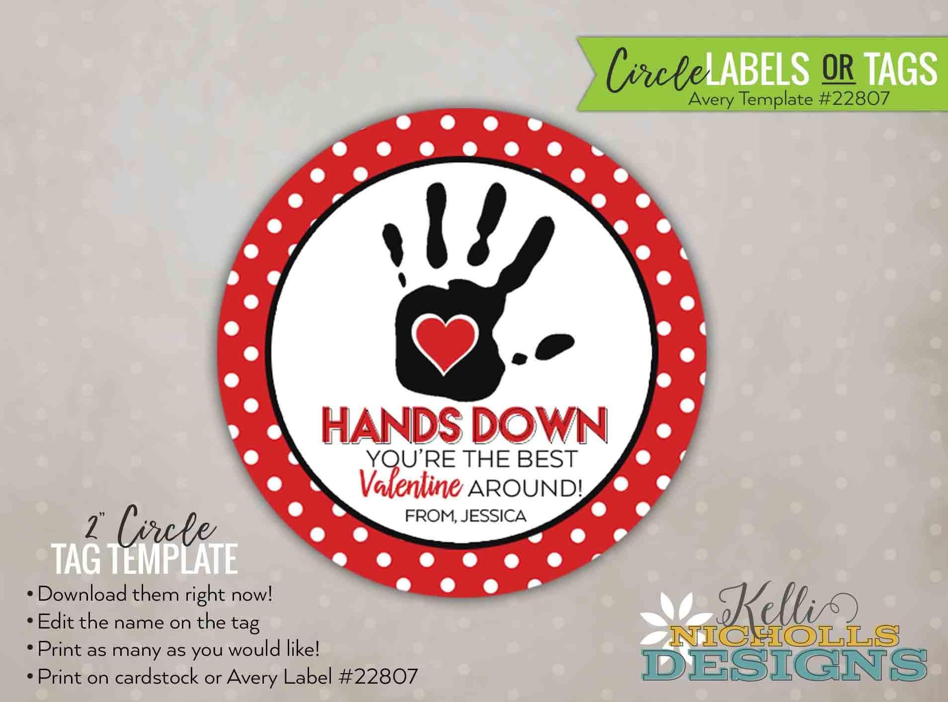 Custom Hands Down Valentine\'s Day Sticker/Tag Hands Down | Etsy