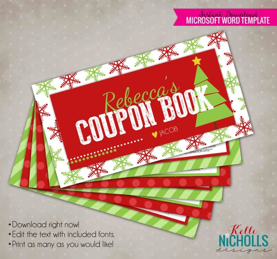 Christmas Gift Coupon Book Personalized Husband Or Wife
