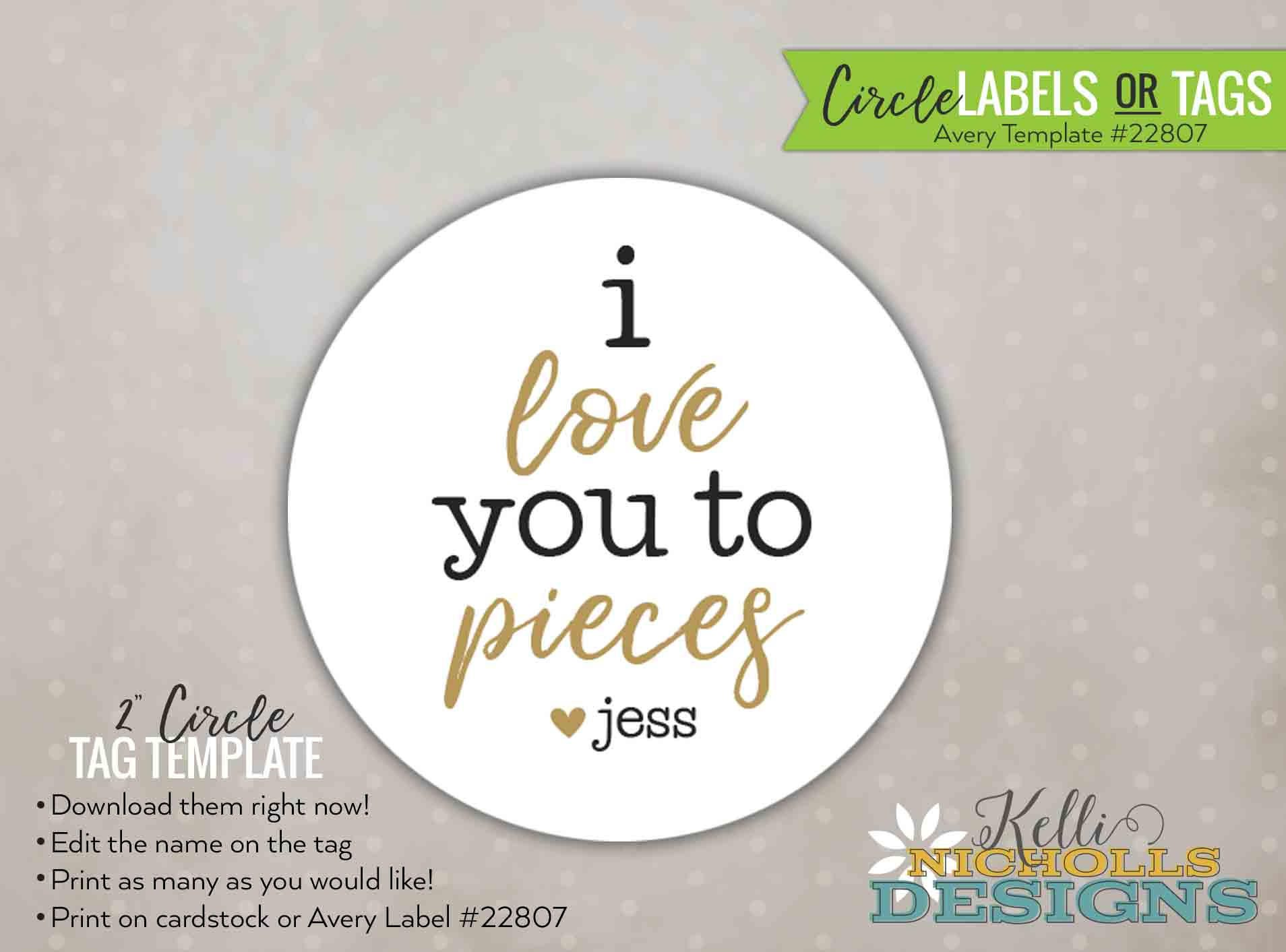 Valentines Personalized Circle Labels Or Stickers I Love