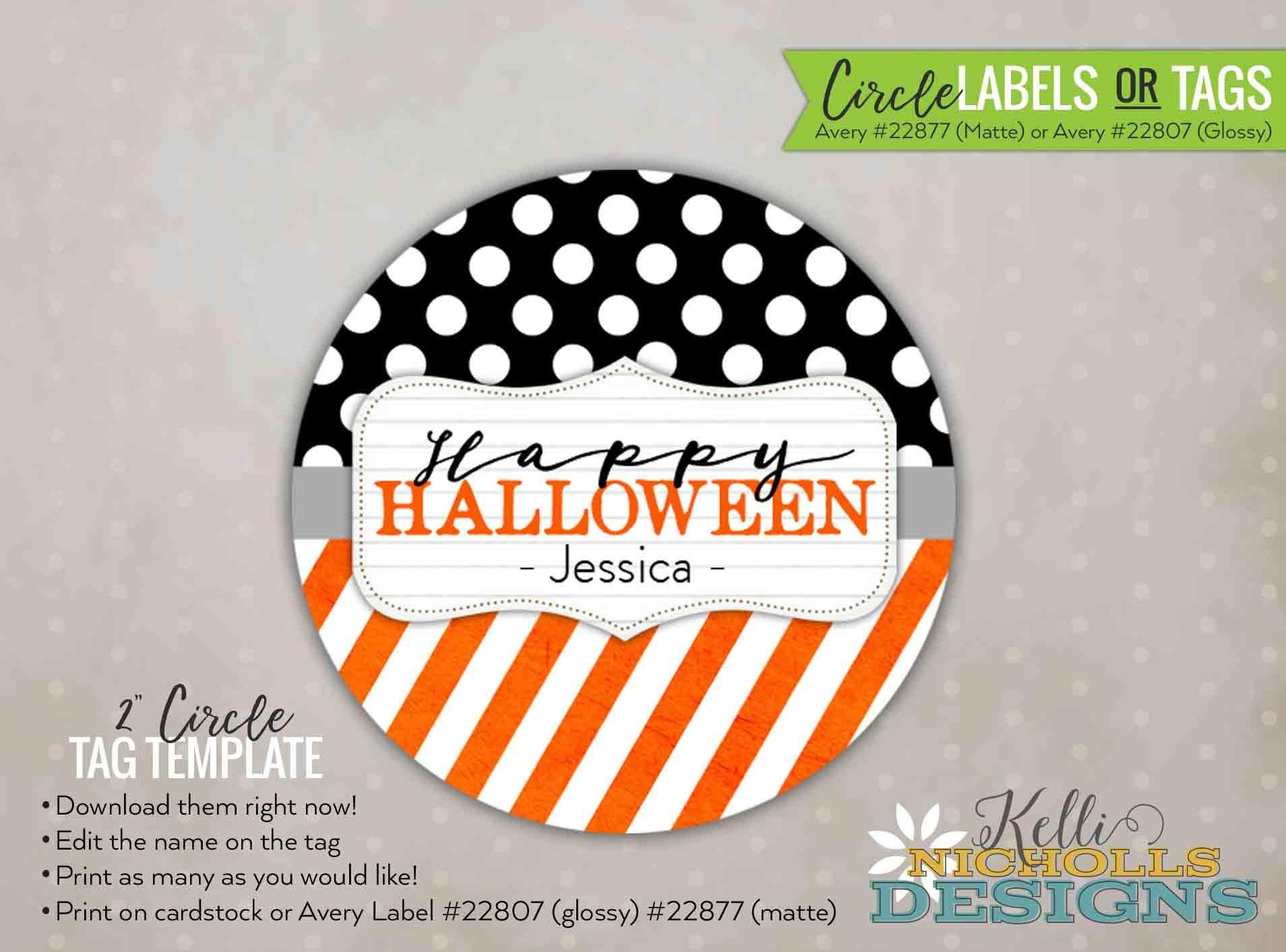 2 halloween polka dot and stripe labels halloween | etsy