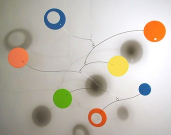 Modern Hanging Art Mobile for Baby Nursery Lil'Softy Foam Circle Abstract Retro Decor Kinetic Home Decor