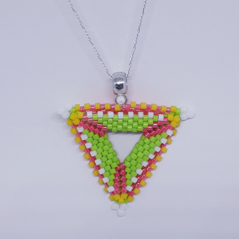 Peyote Delica bead double triangle pendant on SS Chain FREE Postage