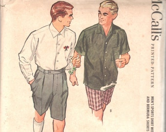 McCalls 4938 1950s Mens BERMUDA SHORTS and Sports SHiRT Pattern Embroidery Monogram Transfer Adult Vintage Sewing Pattern Chest 40 UNCUT