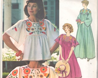 Vogue 1428 1970s Misses Top Dress CAFTAN Pattern Embroidery Transfers Womens Vintage Sewing Pattern Size Medium 12 14 Bust 34 - 36 UNCUT