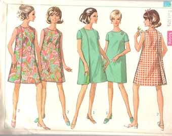 Simplicity 7484 1960s Misses  Mod 3 Armhole  Wrap Dress Pattern Womens Vintage Sewing Pattern Size 10 Bust 32 or 14 Bust 36 or Size 12