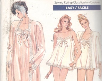 Vogue 7372 1980s Misses Peignoir Nightgown Panties Pattern Evening Short  EASY Womens Vintage Sewing Size XS S M Bust 30 - 36 9242bfe3c