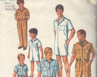 cb434a23e00 Simplicity 8257 1960s Mens Jumpsuit Coveralls Romper Pattern RompHim  Uniform Adult Vintage Sewing Pattern Chest 42