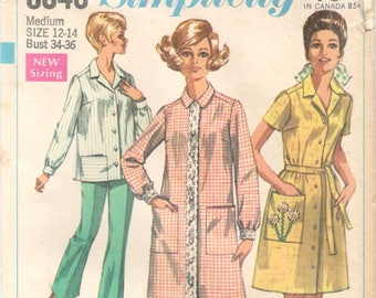 Simplicity 8046 1960s Misses Housecoat Housedress or Smock Pattern  Womens Vintage Sewing Pattern Size Medium Bust 34 36