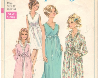 fc8c13d781c Simplicity 7957 1960s Misses Robe Negligee Nightgown Pattern Womens Vintage Sewing  Pattern Size 12 Bust 34 Or 8 Bust 31
