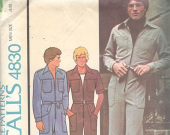 McCalls 4830 1970s Mens Straight Leg Zip Front Jumpsuit Pattern for Knits Denim Chino Adult Vintage Sewing Pattern Chest 48