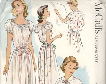 McCalls 8670 1950s Misses Feminine Puff Sleeve Nightgown and Bed Jacket  Pattern Womens Vintage Sewing Pattern Size 16 Bust 34 bcb242d5a