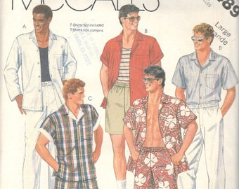 McCalls 2489 1980s Mens Shirt Pants Shorts and Swim Trunks Pattern Adult Vintage Sewing Pattern Size Large Chest 42 - 44 Or Med Or SM UNCUT