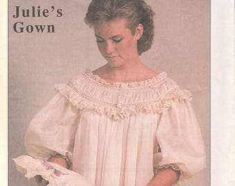 Julie s Gown Pattern Misses Heirloom Nightgown Pattern French Sleeves Womens  Vintage Sewing Pattern Size Small Medium LargeUNCUT 6f9ac7724