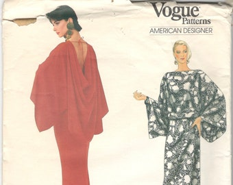 Vogue 1037 1980s Misses Evening Draped Top with Kimono Sleeves and Skirt Pattern BILL BLASS Womens Vintage Sewing Pattern Size 8 10 12 UNCUT