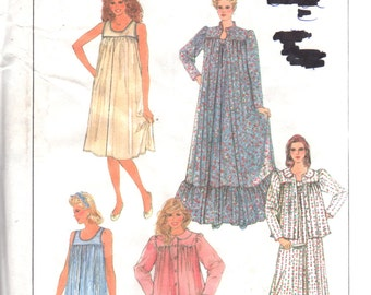 71a26f4acf Simplicity 8310 8965 1980s Misses Pullover Nightgown Robe Bed Jacket  Pajamas Pattern Womens Vintage Sewing SZ PT S M L B 30-42 Or S-Xl UNCUT