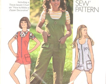 5bc36e8c76 Simplicity 9938 1970s Misses Top and Romper Pattern Scoop Neck Zip Front  Womens Vintage Sewing Pattern Size 12 Bust 34