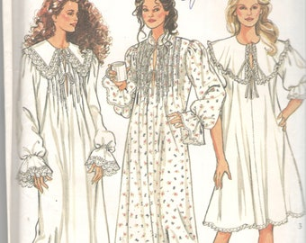 95009a208d New Look 6163 Misses Victorian Style Nightgown Sewing Pattern Tucked Cape  Collar Womens Vintage Sewing Size S M L XL Bust 36 - 50 UNCUT