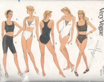 3b9037361ad Vogue 7877 Misses Bra Panties Bodysuit Biker Shorts Pattern Yoga Aerobics  EZ Womens Sewing Pattern Size 12 14 16 Or 6 8 10