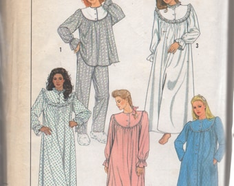 Simplicity 8914 1980s Misses PAJAMAS NIGHTgown RoBE Pattern Womens Vintage  Sewing Pattern Size Small UNCUT 938888c58