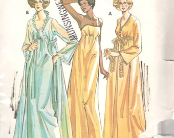 Kwik Sew 721 1970s Misses Empire Waist Nightgown Robe Peignoir Pattern Womens  Vintage Sewing Patterns Size S M L XL Bust 32 - 45 Uncut 28ba62963