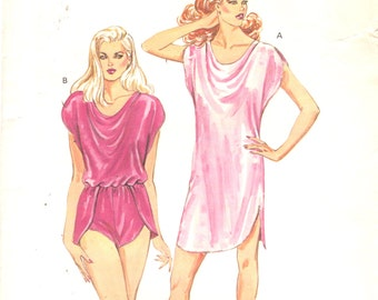 17c38e4767 1980s Kwik Sew 1462 Misses Lingerie Cowl Neck Teddy and Nightgown Pattern  Womens Vintage Sewing Pattern Size XS S M L Bust 31 - 41