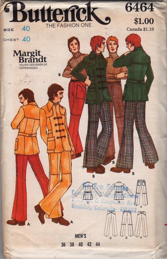 Butterick 6464 1970s Mens Muster Toggle Jackett ausgestellte   Etsy