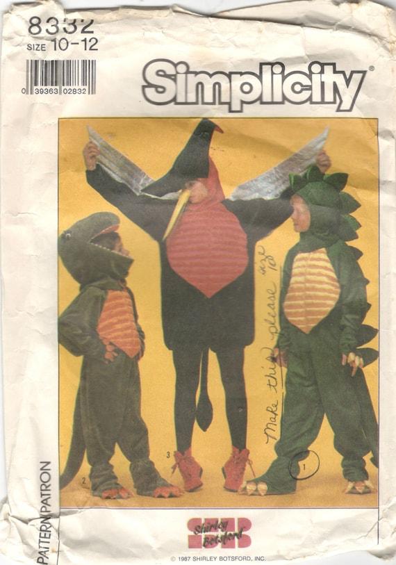 Simplicity 8332 1980s Boys Girls Dinosaur Costume Pattern T Etsy