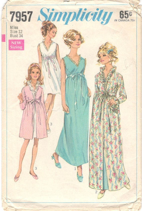 503aabb2ae Simplicity 7957 1960s Misses Robe Negligee Nightgown Pattern