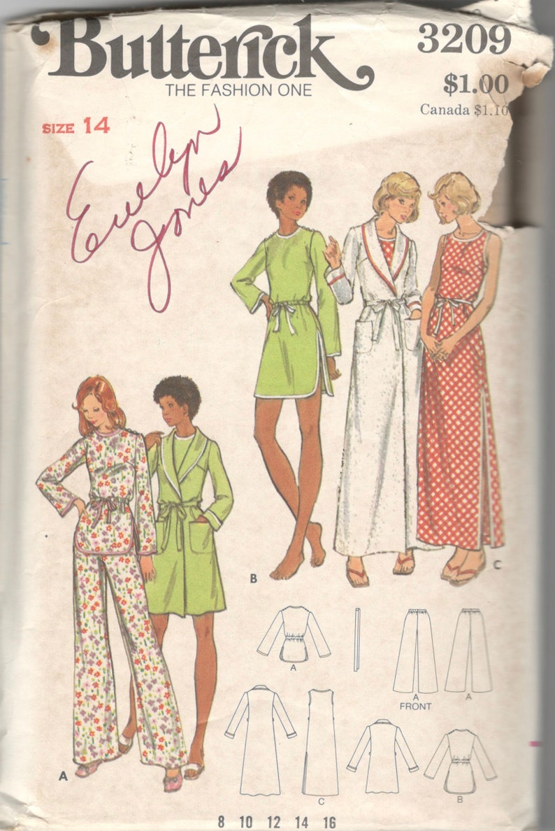 Butterick 3209 1970s Misses Nightgown Pajamas and Robe Pattern  a752c3613