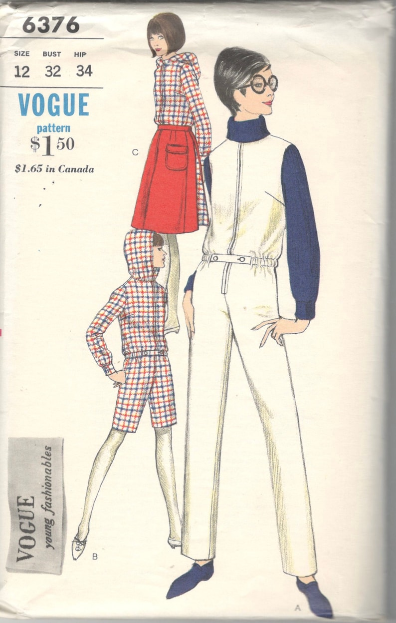 1960s Vogue 6376 Misses Jumpsuit Hooded Bermuda Length Romper image 0