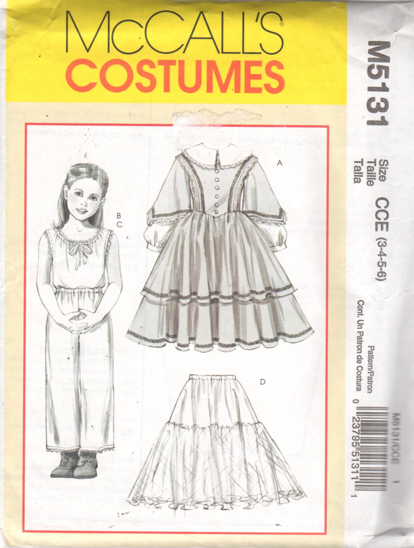 Mccalls 5131 Girls Civil War Costume Pattern Dress Petticoat Etsy