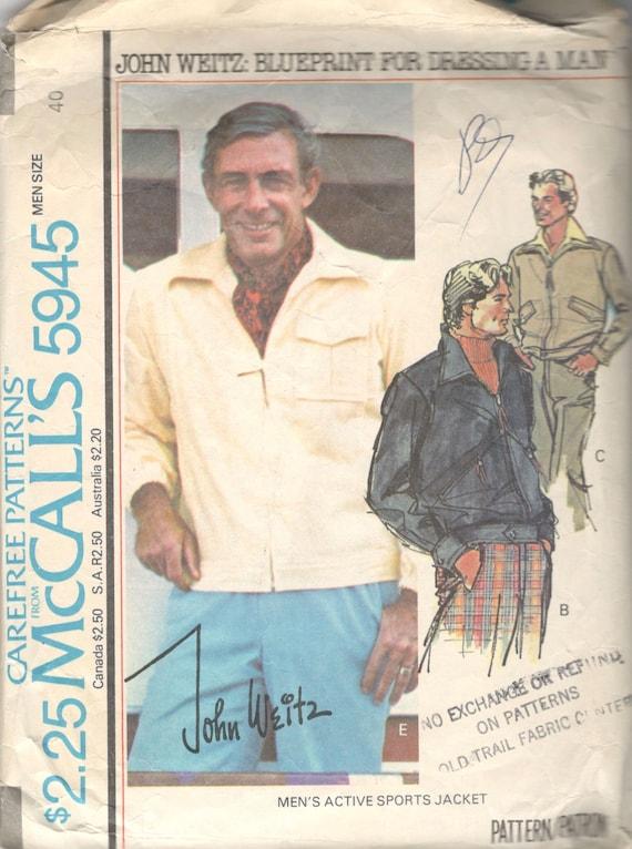 Mccalls 5945 1970s mens sporty unlined zip front jacket malvernweather Gallery