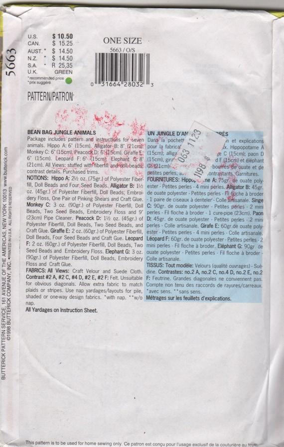 Buterick 5663 214 Bean Bag 7 Dschungeltiere Nähen Muster 6-8 | Etsy