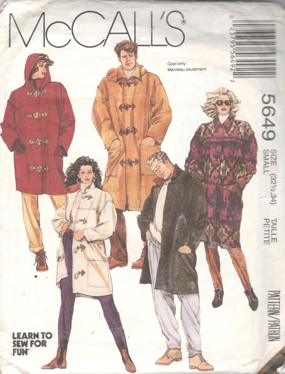 McCalls 40 Mens Misses Lined Duffle Toggle Coat Pattern Hood Etsy Enchanting Mens Trench Coat Pattern
