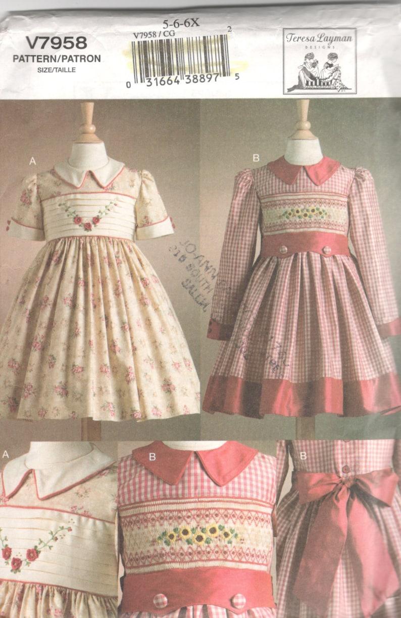 bec2d6a76 Vogue 7958 Girls Smocked Dress Pattern Transfer Teresa Layman | Etsy