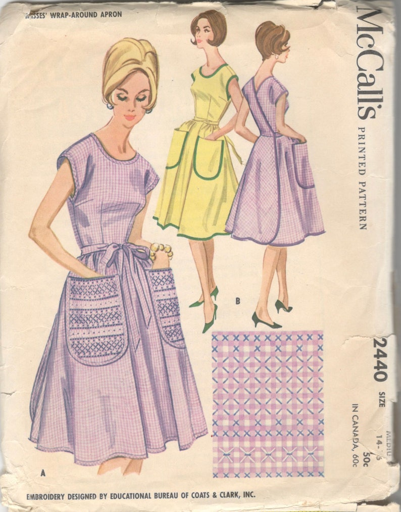 1960s McCalls 2440 Misses Wrap Around Apron Pattern Great for  50ec1dc1a